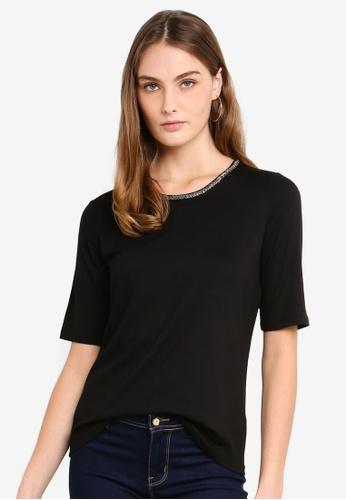 ESPRIT black Bead Short Sleeve T-Shirt D563BAAEAE2F5FGS_1