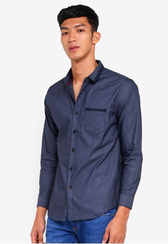 Fidelio blue Contrasted Lining Collar and Pocket Long Sleeves Shirt 7D37BAA0C03B6FGS_1