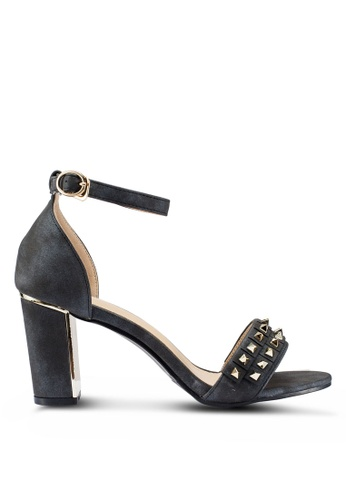Berrybenka 黑色 鉚釘粗跟鞋 028B8SH184F8EEGS_1