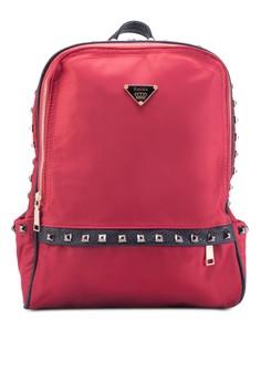 Bagstationz Studded Fashion PU Trimmed Nylon Backpack