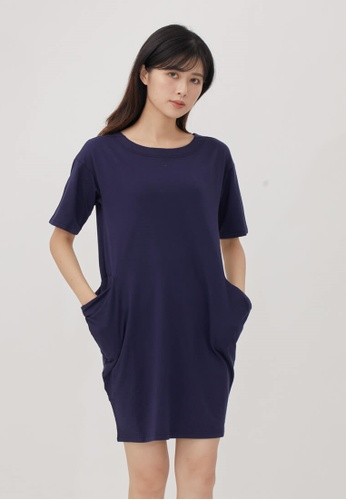 so that's me blue French terry Knee Length width pockets dress Navy 7D6B3AA5C0693DGS_1