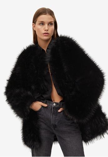 Mango black Oversize Faux-Fur Coat A6546AA791B239GS_1