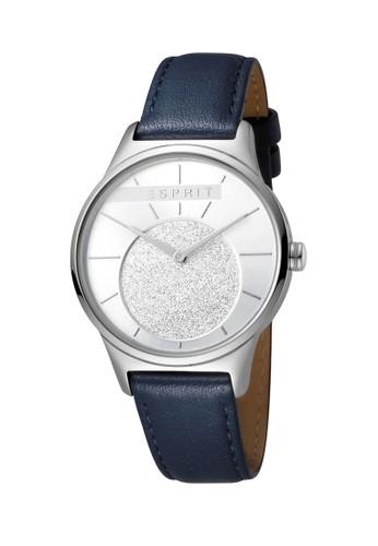 Esprit Watches navy ESPRIT Grace ES1L026L0015 Ladies Silver Glitter Dial Blue Leather Watch 0572AACEBF1080GS_1