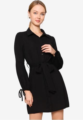 ZALORA WORK black Cuff Detail Shirt Dress 40924AAFEE1D83GS_1