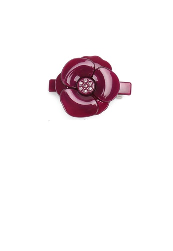 Glamorousky red Fashion and Elegant Red Flower Small Hair Slide with Cubic Zirconia 8BA8CACD07CDE9GS_1