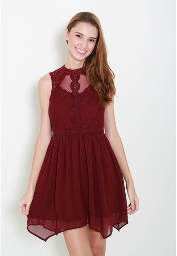 Leline Style red Ashlene Lace Dress LE802AA95UOISG_1