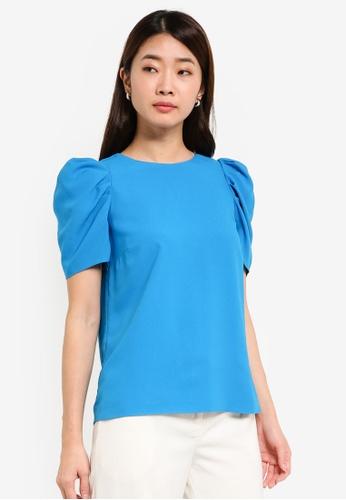Dorothy Perkins blue Turquoise Puff Sleeve Top DO816AA0RJONMY_1