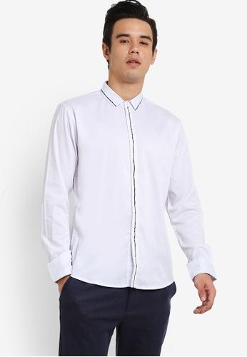 ZALORA white Stroke Print Long Sleeve Shirt 2555FAA99408EEGS_1