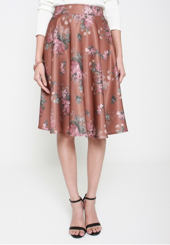 Sophialuv brown Floral Conquers All Swing Skirt in Chocolate 29C81AA69BA2E5GS_1