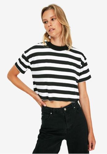 Trendyol black Stripe Crop T-Shirt 4317CAAA44D450GS_1