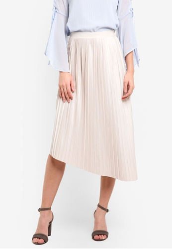 TOPSHOP grey Asymmetric Pleated Midi Skirt TO412AA0RMX1MY_1
