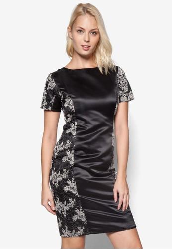 印花拼接短esprit hk袖連身裙, 服飾, 洋裝