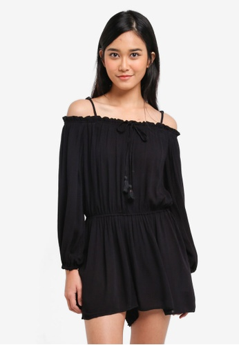 Supre black Evelyn Cold Shoulder Playsuit ECFA0AAE6F394EGS_1