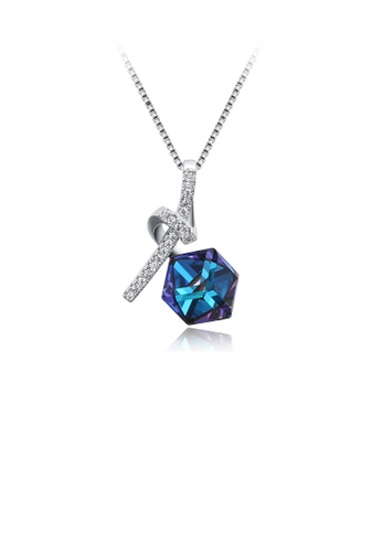 Glamorousky blue 925 Sterling Silver Elegant Geometric Pendant with Blue Austrian Element Crystal and Necklace 420F7AC238FC81GS_1