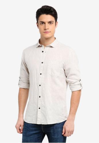 ESPRIT beige Woven Long Sleeve Shirt B15C4AA2B88A3EGS_1