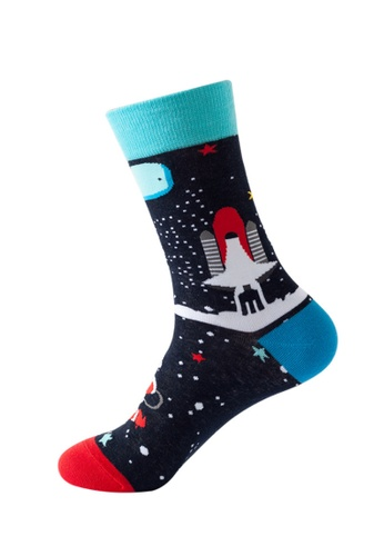 Kings Collection blue Spacecraft Pattern Cozy Socks (One Size) HS202253 17820AA31C407DGS_1