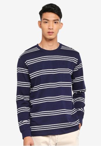 Cotton On 海軍藍色 長袖條紋T恤 BCF2CAA065FEFAGS_1