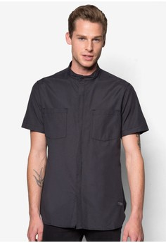 Duo Pocket Stand Collar Short Sleeve Shirt