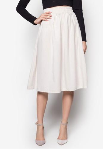 素色亞麻及esprit旗艦店膝裙, 服飾, 裙子