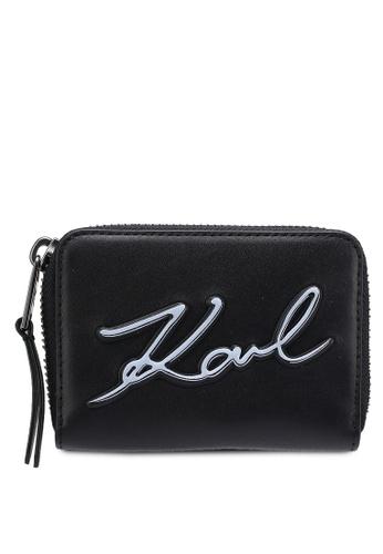KARL LAGERFELD black K/Metal Signature Small Wallet KA533AC02OANMY_1