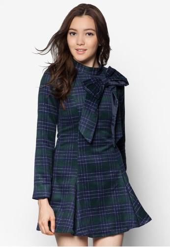 蝴蝶zalora 手錶 評價結格紋長袖連身裙, 服飾, 正式洋裝