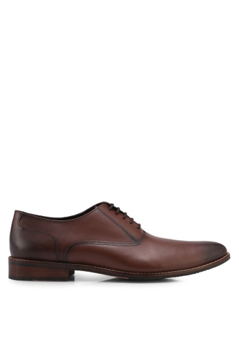 ZALORA brown Calf Leather Lace Up Dress Shoes ACB7DSH4B232E6GS_1