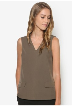 Collection V-Neck Pocket Detail Top