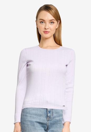 Hollister purple Long Sleeve Slim Pointelle Liability Top EB005AA1A4C151GS_1