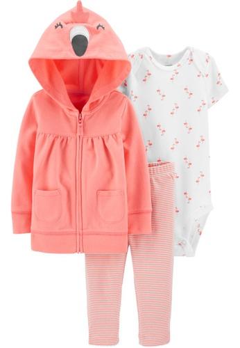 Carter's pink CARTER'S Girl Peach Flamingo Cardigan Set 4553EKA7D4E6ABGS_1