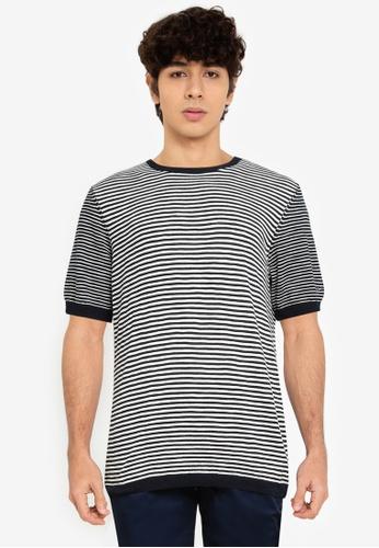 Ben Sherman navy Stripe Knitted Tee A55C2AA5A2BAE8GS_1