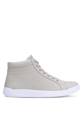 ZALORA beige Faux Leather Quilted High Top Sneakers 8C8E7SHD6BB115GS_1