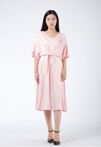 Simplify pink Lilian Midi Dress Soft Pink 72005AAC81AF14GS_1
