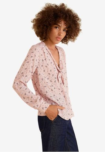 Mango pink Floral Print Blouse A6B21AA89170B3GS_1