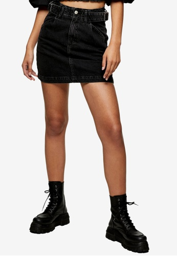 TOPSHOP black Washed Black Denim Buckle Mini Skirt 8AA9FAAD142A6AGS_1