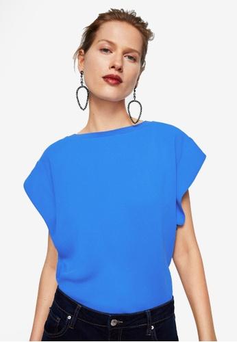 Mango blue Sleeve Detail Blouse 4A54BAA386EEBFGS_1