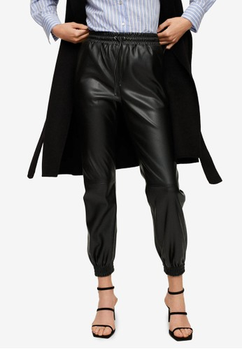 Mango black Leather-Effect Elastic Waist Trousers 9DDFFAAD079D38GS_1