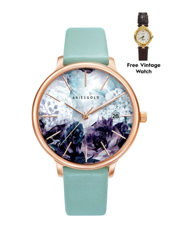 Aries Gold green Aries Gold Enchant Fleur Rose Gold and Turquoise Leather Watch 19502ACEC7D0DBGS_1