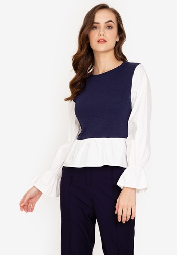 ZALORA WORK multi Contrast Fabric Peplum Top CBE70AA93145D3GS_1