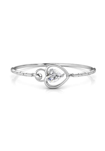 Her Jewellery silver Swarovski® Crystals -Lovsie Bangle(18K White Gold Plated) Her Jewellery HE581AC0RDH6MY_1