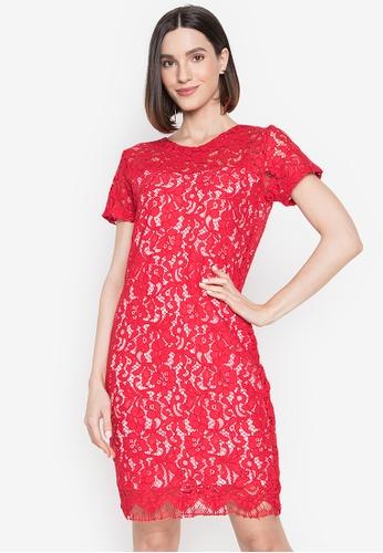RUESALIDOU red Gatha Lace Dress CF361AABF2C21EGS_1
