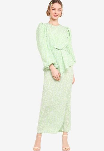 Lubna 綠色 Balloon Sleeve Side Drape Kurung 330ABAAE8181C7GS_1