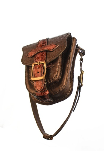 CSHEON red and gold and brown Axel Fanny Pack Bag Genuine Leather Handcrafted Pouch 356ADACE45F6DCGS_1