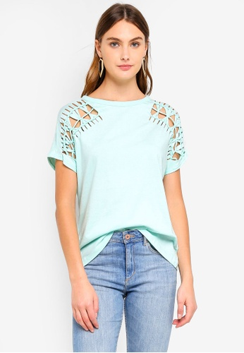 Brave Soul green Distressed Sleeve T-Shirt FF31AAA4A15027GS_1