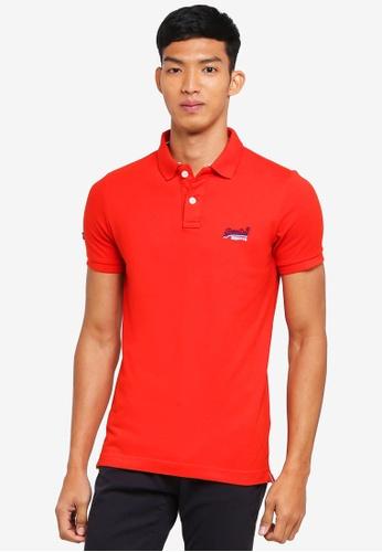 Superdry orange Classic Short Sleeve Pique Polo Shirt F572BAA492B580GS_1