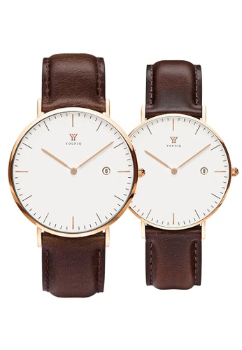 YOUNIQ white and gold and brown YOUNIQ Couple Set Pinot White Dial Rosegold Quartz Sapphire Crystal Genuine Leather Watch 54E0BAC3399AFBGS_1