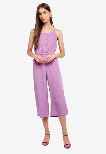 ZALORA 紫色 鈕釦細肩帶連身褲 178D3AA3F8B271GS_1
