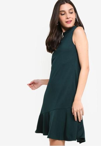ZALORA green Asymmetric Flare Hem Dress 0D0AEAA83D4B69GS_1