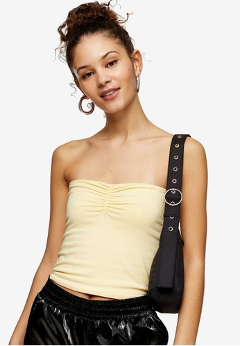TOPSHOP yellow Yellow Ruched Bandeau Top 2C779AA8DAC05FGS_1