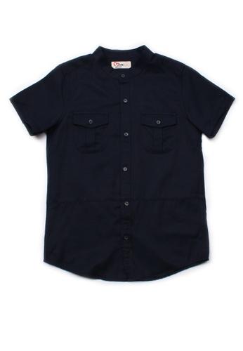 Mini Moley navy Brushed Cotton Twin Pocket Short Sleeve Shirt 10323KA1811DC1GS_1