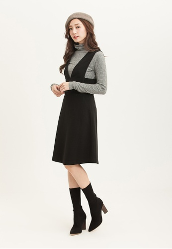 H:CONNECT black Simple Overlaying Dress A8FD6AA069D2D6GS_1